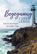 """Bibelausgaben: Begegnung fürs Leben, NLB. Neues Leben Bibel, Motiv """"Leuchtturm""""; Brockhaus"""