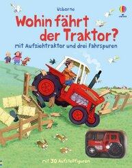 Wohin fährt der Traktor? (Mit Aufziehtraktor und drei Fahrspuren. Mit 30 Aufstellfiguren)