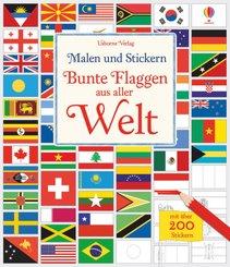 Malen und Stickern - Bunte Flaggen aus aller Welt