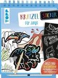 Kratzel-Sticker für Jungs, m. Holz-Kratzstift