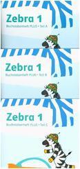 Zebra. Ausgabe ab 2018: 1. Schuljahr, Buchstabenheft PLUS Teil A-C, 3 Bde.