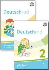 Deutschrad. Ausgabe ab 2018: 1./2. Klasse, Arbeitsheft Druckschrift, 4 Bde.