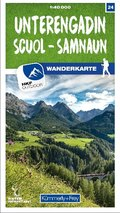 Kümmerly & Frey Unterengadin / Scuol - Samnaun 24 Wanderkarte 1:40 000 matt laminiert