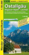 GeoMap Karte Ostallgäu, Allgäuer Alpen, Lechtal Wander- und Freizeitkarte