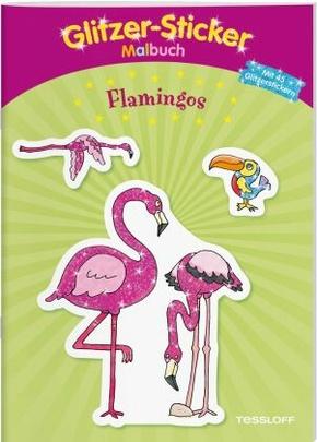 Glitzer-Sticker Malbuch Flamingos