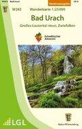 Topographische Wanderkarte Baden-Württemberg Bad Urach - Großes Lautertal (West), Zwiefalten