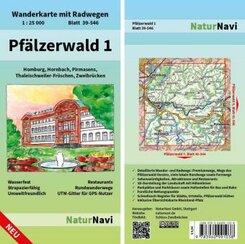 NaturNavi Wanderkarte mit Radwegen Pfälzerwald - Tl.1
