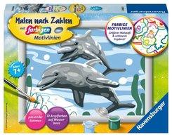 Malen nach Zahlen - Jeder kann malen (Mal-Sets), Bildgröße: 13 x 18 cm: Freundliche Delfine