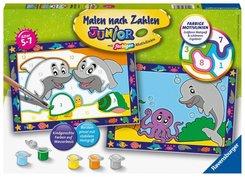 Malen nach Zahlen Junior - Jeder kann malen (Mal-Sets), Bildgröße: 22 x 32 cm: Lustige Delfine