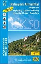 Topographische Karte Bayern Naturpark Altmühltal, östlicher Teil