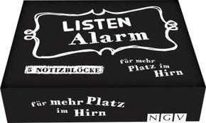 Listenalarm - Die Zettelbox für mehr Platz im Gehirn - 5 cool gestaltete Notizblöcke mit je 60 Blatt