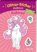 Glitzer-Sticker Malblock. Einhörner