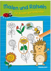 Malen und Rätseln für Kindergartenkinder (Blau)