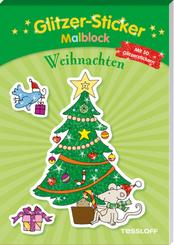 Glitzer-Sticker Malblock. Weihnachten