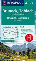 KOMPASS Wanderkarte Bruneck, Toblach, Hochpustertal, Brunico, Dobbiaco, Alta Pusteria