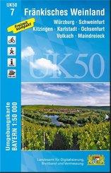 Topographische Karte Bayern Fränkisches Weinland
