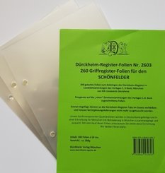 260 transparente Dürckheim-Griffregister-Folien zum Einheften und Unterteilen der Gesetzessammlungen
