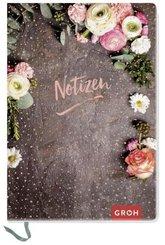 """Premium Notizbuch  """"Notizen"""" DIN A6 mit Blumen"""