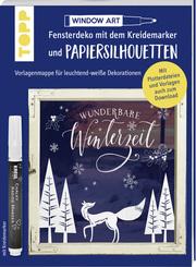 Vorlagenmappe Fensterdeko mit dem Kreidemarker & Papiersilhouetten - Wunderbare Winterzeit.