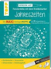 Maxi-Vorlagenmappe Fensterdeko mit dem Kreidemarker - Jahreszeiten. Inkl. Original Kreul-Kreidemarker, Sticker und Glitz