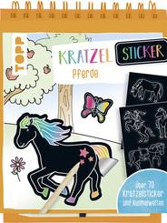 Kratzel Sticker Pferde, m. Holz-Kratzstift
