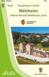 Topographische Wanderkarte Baden-Württemberg Welzheim