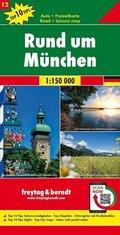 Freytag & Berndt Auto + Freizeitkarte Rund um München, 1:150.000, Top 10 Tips
