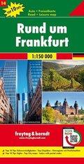 Freytag & Berndt Auto + Freizeitkarte Rund um Frankfurt, 1:150.000, Top 10 Tips