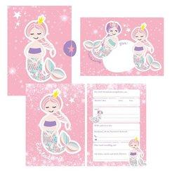 12 Glitzer Einladungskarten Meerjungfrau zum Geburtstag für Mädchen inkl. Umschläge rosa glitzernde Geburtstagseinladung