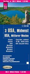 Reise Know-How Landkarte USA, Mittlerer Westen / USA, Midwest (1:1.250.000) : Illinois, Indiana, Iowa, Michigan, Minneso