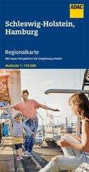 ADAC Regionalkarte Schleswig-Holstein/Hamburg 1:150 000