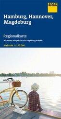 ADAC Regionalkarte Hamburg, Hannover, Magdeburg 1:150 000