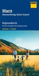 ADAC Regionalkarte Harz, Braunschweig, Erfurt, Kassel 1:150 000