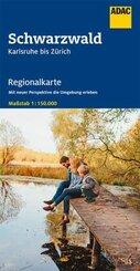 AADAC Regionalkarte Schwarzwald Karlsruhe bis Zürich 1:150 000