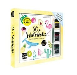 50 x Watercolor - Flamingo, Kaktus & Co. - Starter-Set
