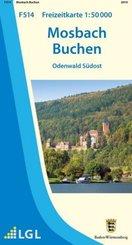Topographische Freizeitkarte Baden-Württemberg Mosbach Buchen