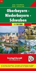 freytag & berndt Auto + Freizeitkarte Oberbayern - Niederbayern - Schwaben, Autokarte 1:150 000