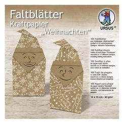 """URSUS Faltblätter Kraftpapier """"Weihnachten"""", 15 x 15 cm"""