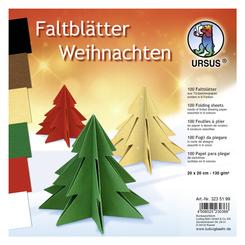 """URSUS Tonzeichenpapier-Faltblätter """"Weihnachten"""", 20 x 20 cm"""
