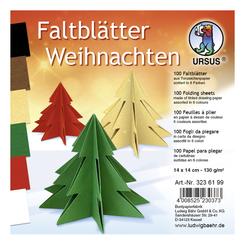 """URSUS Tonzeichenpapier-Faltblätter """"Weihnachten"""", 14 x 14 cm"""