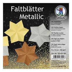 """URSUS Tonzeichenpapier-Faltblätter """"Metallic"""", 14 x 14 cm"""