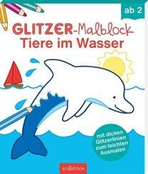Glitzer-Malblock Tiere im Wasser