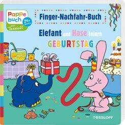 Finger-Nachfahr-Buch. Elefant und Hase feiern Geburtstag
