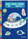 Malen - Rätseln - Stickern mit Elefant und Hase