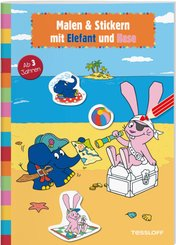 Malen & Stickern mit Elefant und Hase