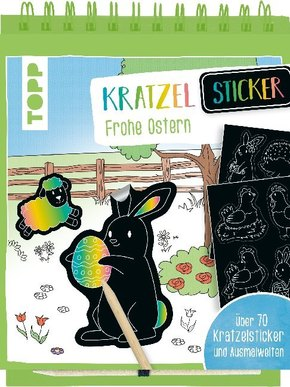 Kratzel-Sticker Frohe Ostern, m. Holz-Kratzstift
