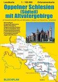 Landkarte Oppelner Schlesien (Südteil) mit Altvatergebirge
