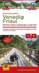 ADFC-Radtourenkarte 29 Venedig, Friaul - Kärnten West, Salzburger Land Süd, 150.000, reiß- und wetterfest, GPS-Tracks Do
