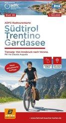 ADFC-Radtourenkarte 28 Südtirol, Trentino, Gardasee 1:150.000, reiß- und wetterfest, GPS-Tracks Download