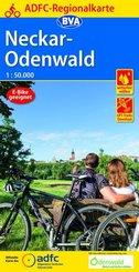 ADFC-Regionalkarte Neckar-Odenwald, 1:50.000, reiß- und wetterfest, GPS-Tracks Download